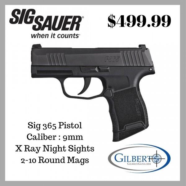Sig P365 9mm Pistol With Night Sights & 2-10 Round Magazines 365-9-BXR3