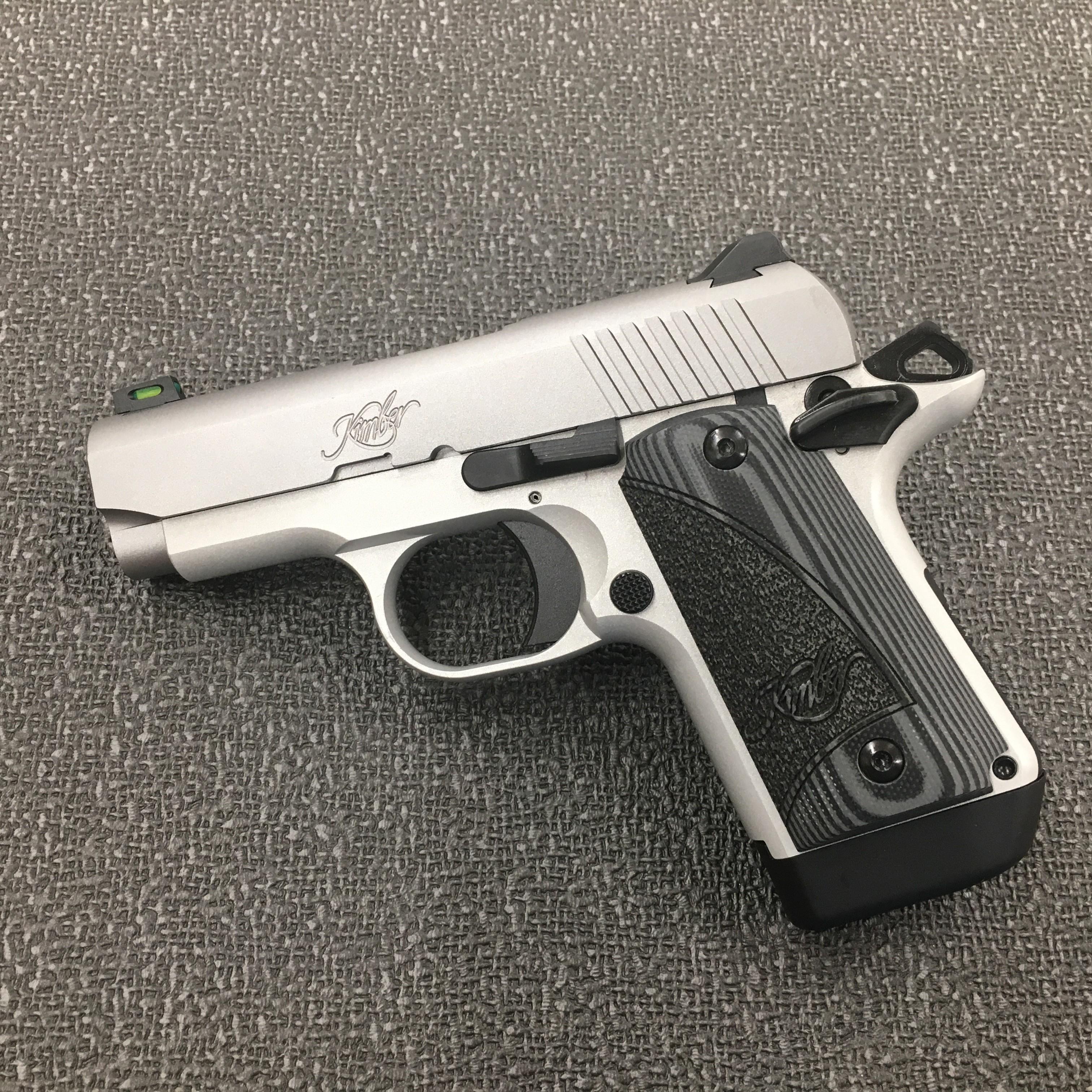 Kimber 1911 Micro Pistols: Kimber Micro 9 Fiber Optic Stainless Steel 9mm Pistol Gray