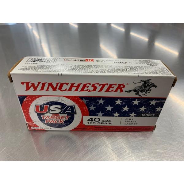 Winchester USA Target Pack 40 Caliber 180 Grain FMJ Ammunition USA4238
