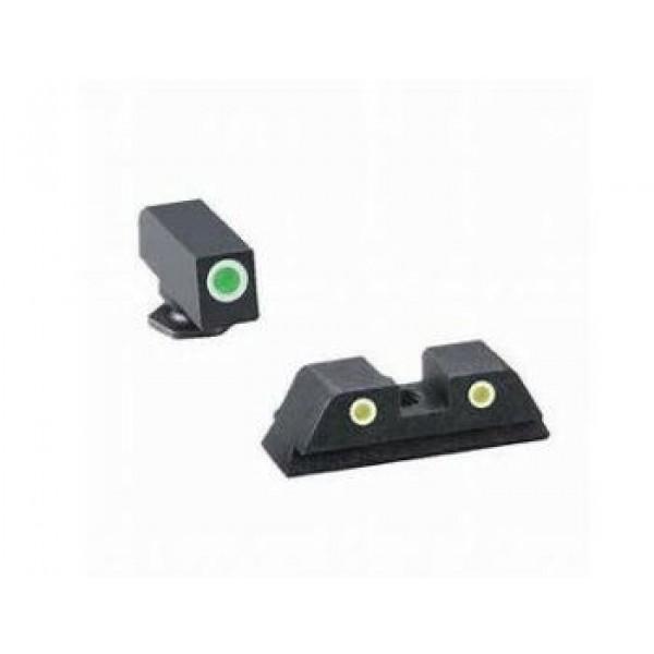 AmeriGlo Classic 3 Dot Green / Yellow Night Sight For GLOCK Gen 5 Only GLOCK 17 19 19X 26 34 GL-5115