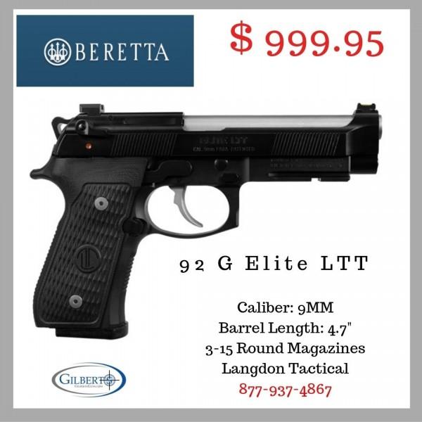 Beretta 92 G Elite LTT 9mm Pistol J92G9LTTM