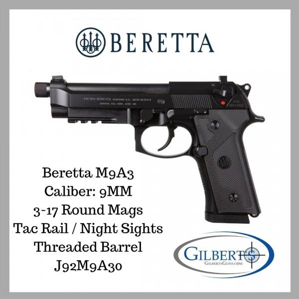 Beretta M9A3 9mm Pistol W/ 3-17 Mags, Night Sights & Threaded Barrel J92M9A3M0