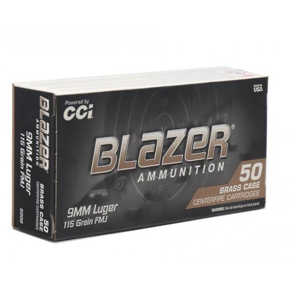 CCI Blazer Brass 9mm 115 Grain FMJ Target Ammunition 5200