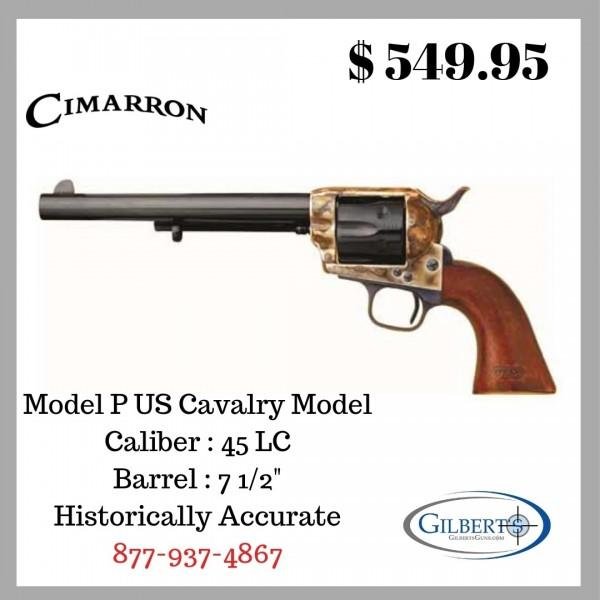 "Cimarron Model P US Cavalry 45LC Single Action Revolver With 7.5"" Barrel CA514M00"