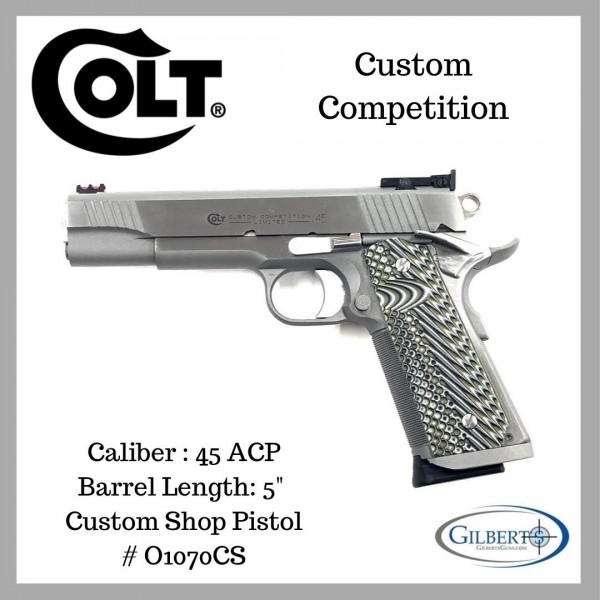 Colt Custom Competition Stainless 45 ACP Pistol O1070CS