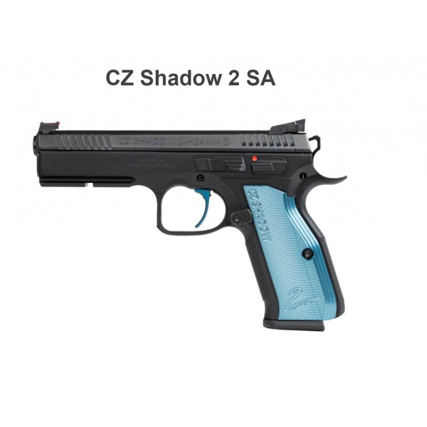 CZ Shadow 2 Single Action 9mm Pistol With Blue Aluminum Grips 91245