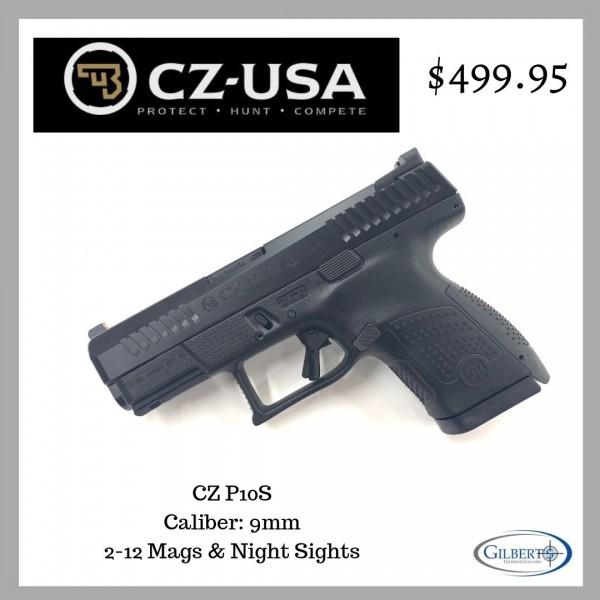 CZ P10S 9mm Pistol With 2-12 Round Magazines 95160