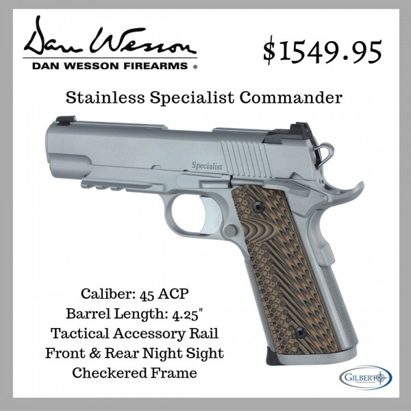 Dan Wesson Stainless Specialist Commander 45 ACP Pistol 1891