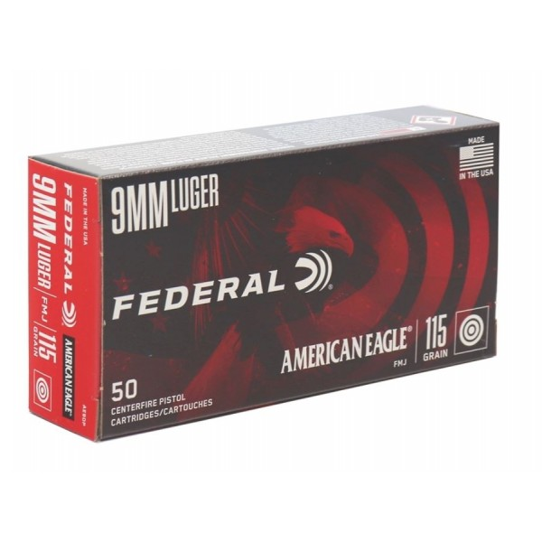 Federal AE9DP American Eagle 9mm 115 FMJ Ammunition (500 Rounds)