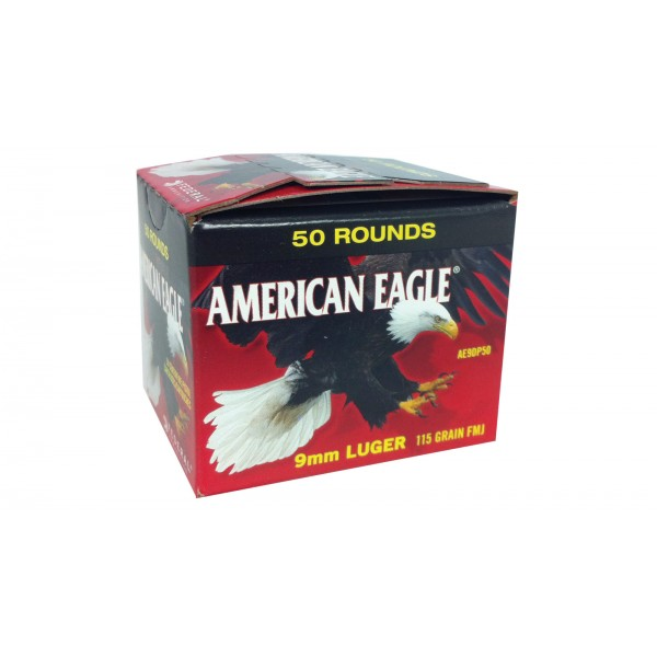 Federal AE9DP50 American Eagle 9mm 115 FMJ Ammunition (500 Rounds)