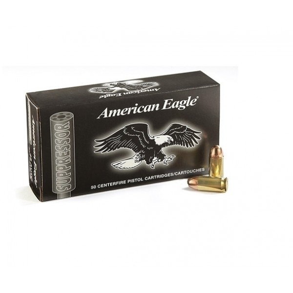 Federal American Eagle Suppressor 45 ACP 230 Grain Subsonic Ammunition AE45SUP1.  Box of 20 Rounds.