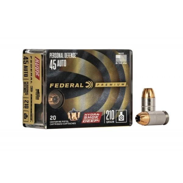 Federal 45 ACP 210 Grain Hydra Shok Deep Personal Defense Ammunition P45HSD1