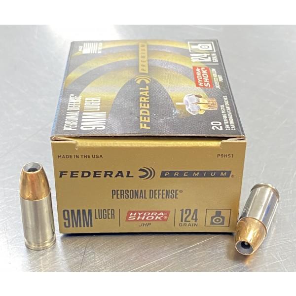 Federal Personal Defense 9mm 124 Grain Hydra Shok JHP Ammunition P9HS1