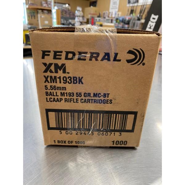 Federal XM193 BK 5.56  55 Grain FMJ Ammunition (1000 Round Bulk Pack)