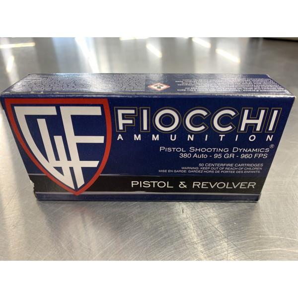 Fiocchi 380 ACP 95 Grain FMJ  Pistol Shooting Dynamics Ammunition 380AP.  50 Pack