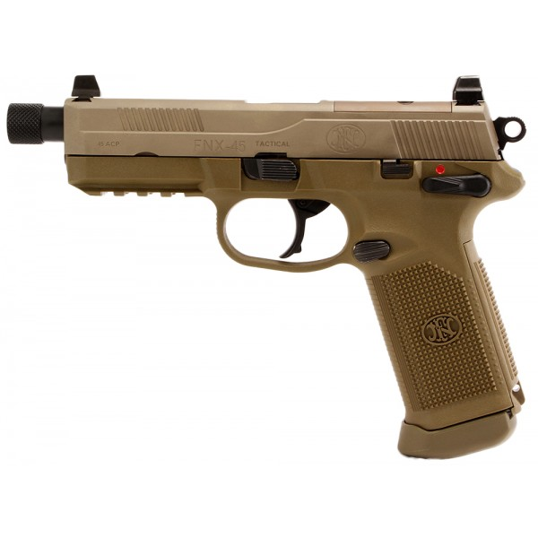 FN 66968 FNX-45 Tactical FDE 45 ACP Pistol With 3-15 Round Magazines