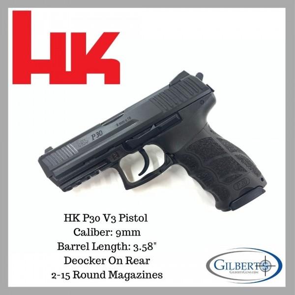 HK P30 V3 9mm Pistol With Rear Deocker M730903-A5