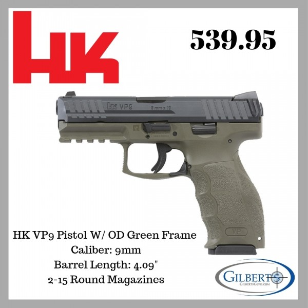 HK VP9 9mm Green Pistol With 2-15 Round Magazines M700009GR-A5