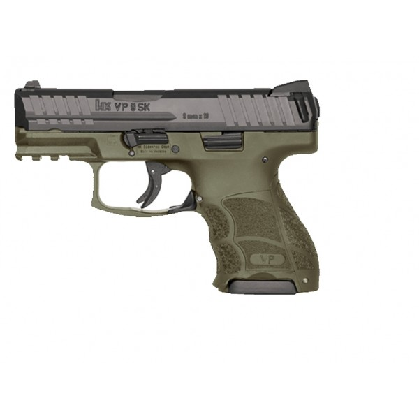 "HK VP9SK 9mm Compact Pistol With 3.39"" Barrel & 2-10 Round Mags With OD Green Frame  81000097"