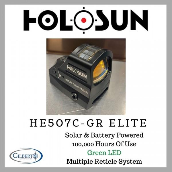 HOLOSUN HE507C-GR  Elite Green Multi Reticle Shake Awake Solar Dot / Circle Dot Optic