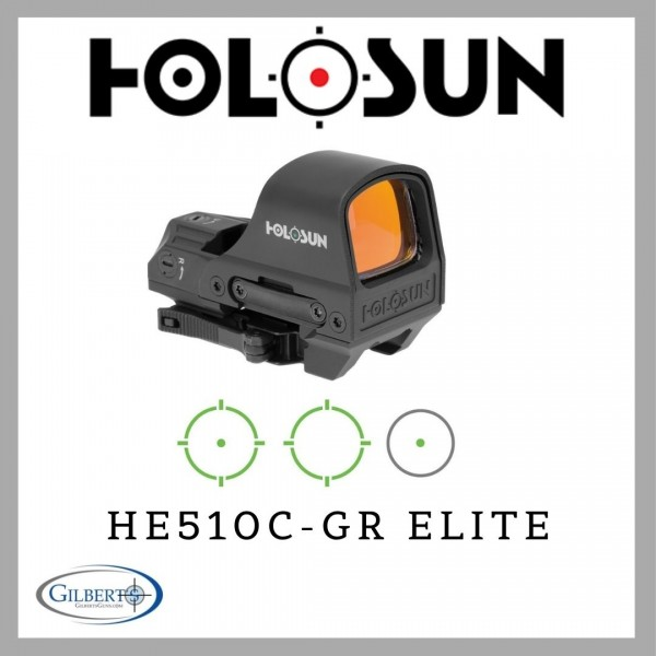 Holosun HE510C-GR Elite Solar Green Dot Optic With Multiple Reticles