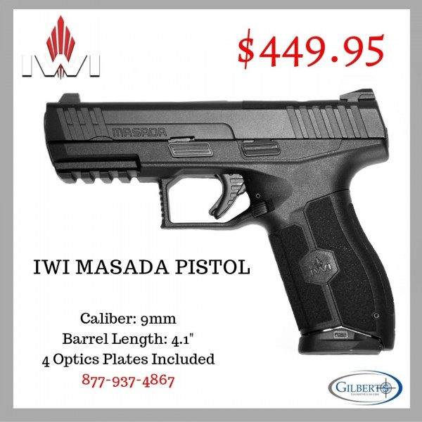 IWI Masada 9mm Optics Ready Pistol With 2-17 Round Magazines
