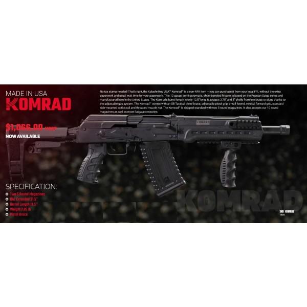 """Kalashnikov USA KOMRAD 12 Gauge 12.5"""" Barrel Firearm"""