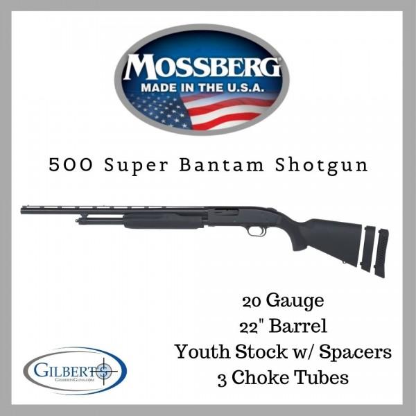"""Mossberg 500 Left Handed 20 Gauge Super Bantam 22"""" Shotgun 59822"""