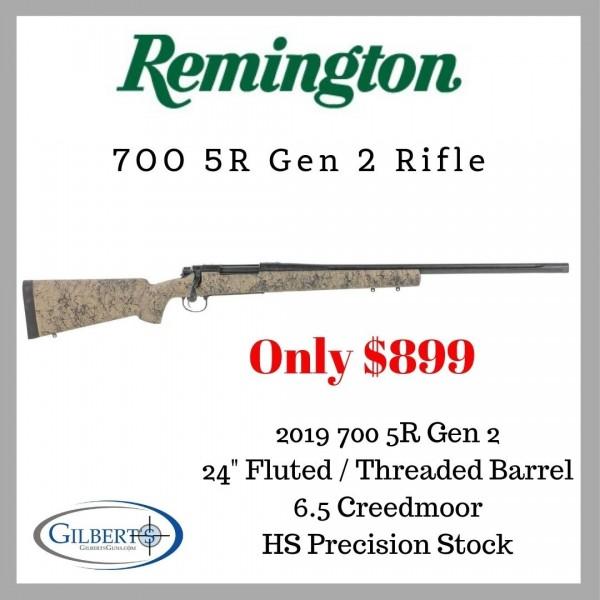 "Remington 700 5-R Gen 2 6.5 Creedmoor Rifle With 24"" Fluted & Threaded Barrel 85198"
