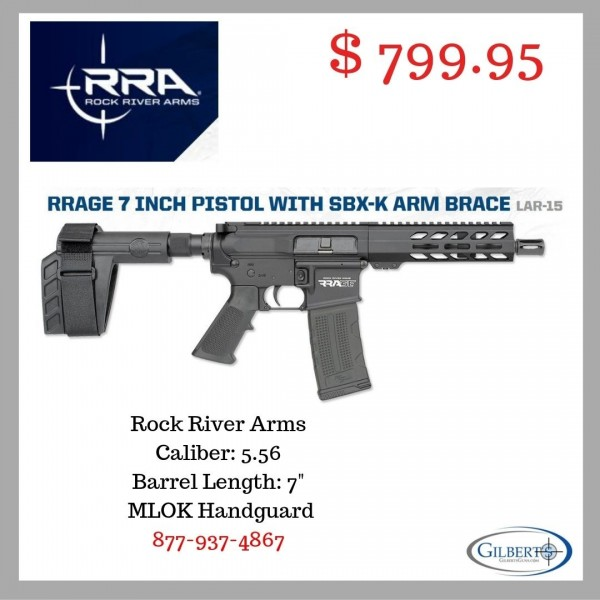 "Rock River Arms RRage 5.56 Pistol With 7"" Barrel & SBX-K Arm Brace DS2110"