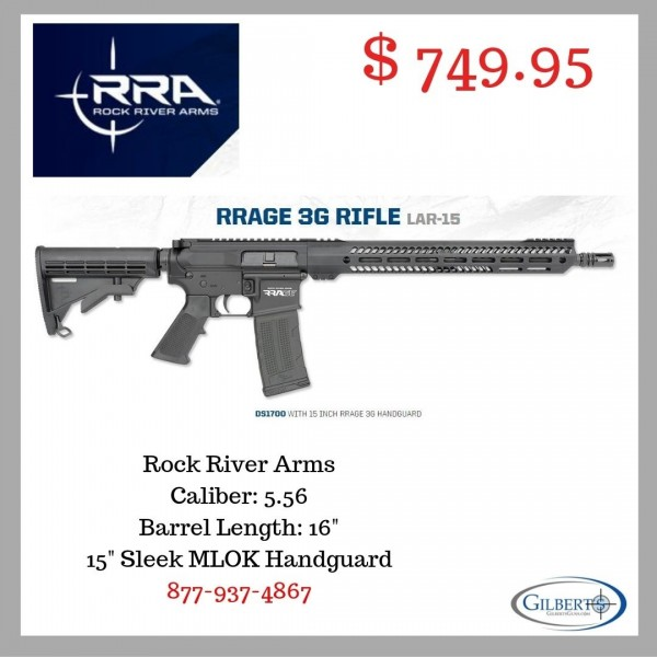 "Rock River Arms LAR15 Rage 3G 5.56 Rifle With 16"" Barrel DS1700"