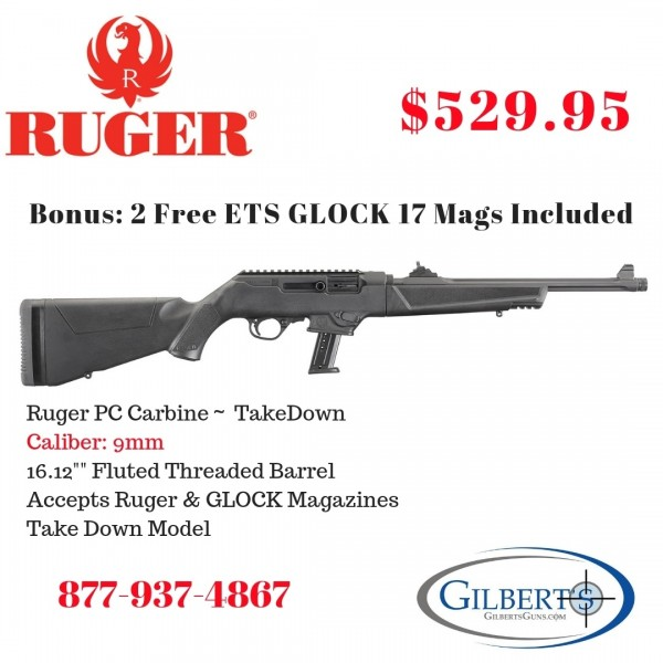 "Ruger PC Carbine 9mm With 16.12"" Threaded Fluted Barrel 19100"