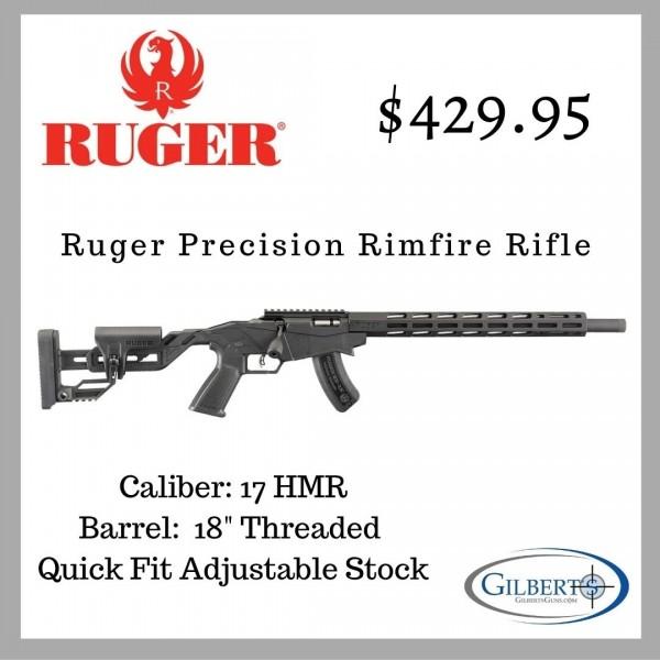 "Ruger Precision Rimfire 17 HMR Rifle With 18"" Barrel 08402"