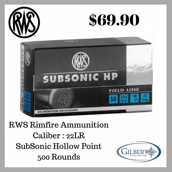 RWS Subsonic HP 22LR Ammunition (500 Count) 2132664