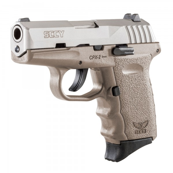 SCCY CPX-2 9mm Stainless Steel Pistol With Flat Dark Earth Frame & 2-10 Round Magazines