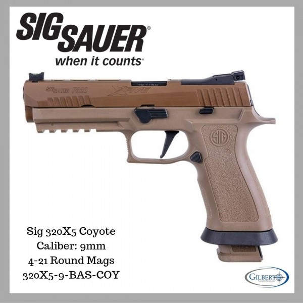 """Sig 320 X5 9mm Coyote Pistol With 5"""" Barrel & 4-21 Round Magazines 320X5-9-BAS-COY"""