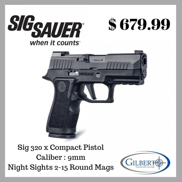 "Sig 320X Compact 9mm Pistol With 3.6"" Barrel & 2-15 Round Magazines 320XC-9-BXR3"