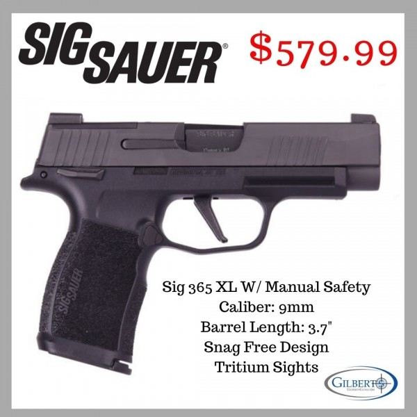 """Sig Sauer 365 XL With 3.7"""" Barrel 2-12 Round Mags, Night Sights & Manual Safety 365XL-9-BXR3-MS"""