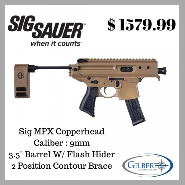 Sig MPX Copperhead 9mm Pistol With Brace PMPX-3B-CH