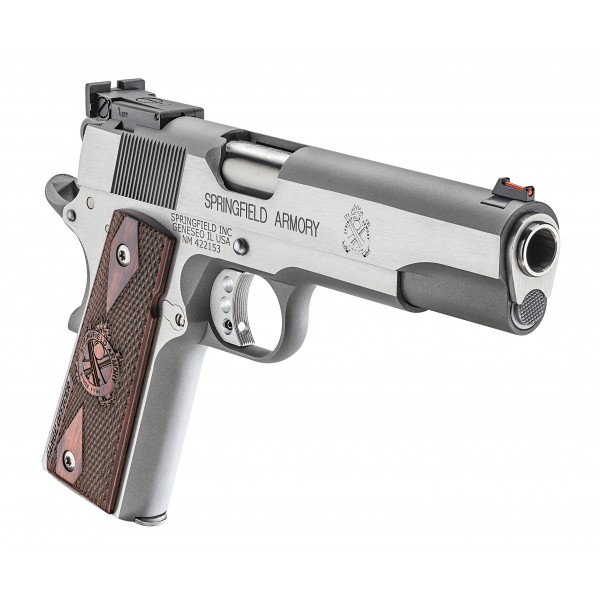 """Springfield 1911 Range Officer Stainless 45 ACP Pistol With 5"""" Barrel & Adjustable Sights PI9124L"""