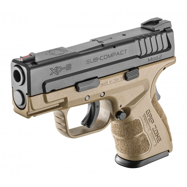 Springfield XD Mod 2 Sub Compact 9mm Pistol With FDE Frame