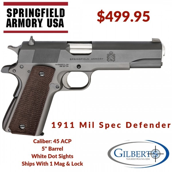 Springfield 1911 Mil Spec Defender 45 ACP Pistol PBD9108L