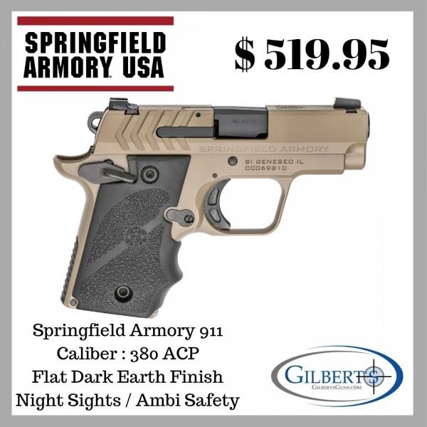Springfield 911 Flat Dark Earth 380 ACP Pistol PG9109F