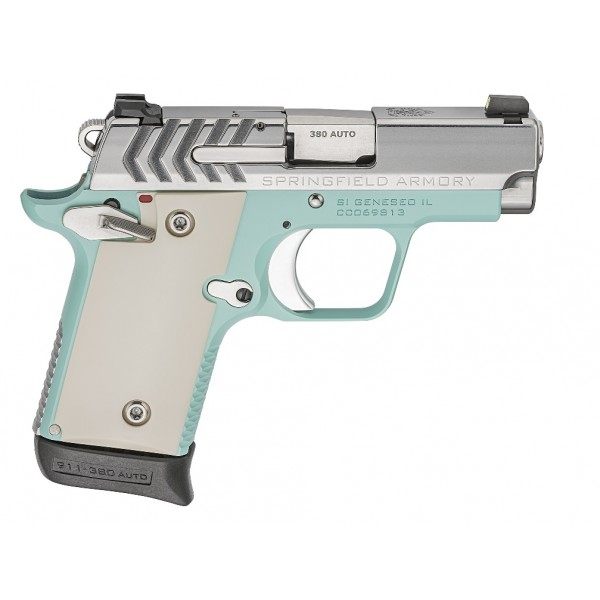 Springfield 911 Vintage Blue / Polished Stainless 380 Pistol PG9109VBS