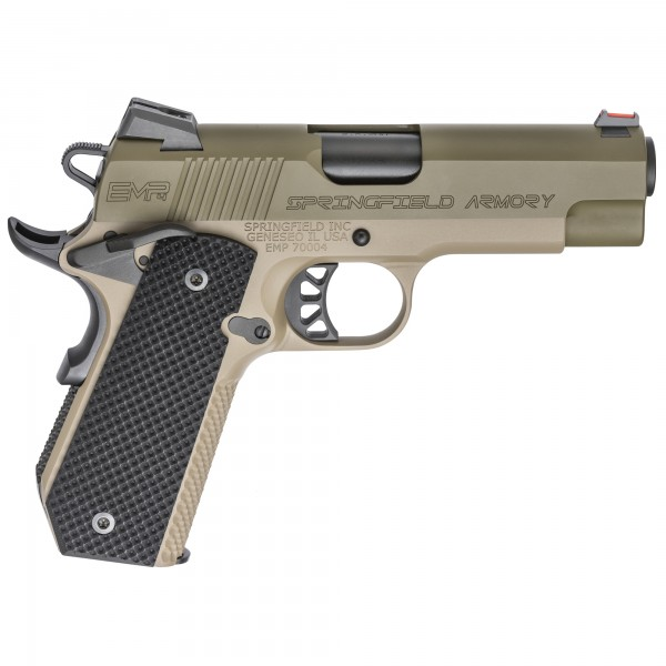 """Springfield 1911 EMP 4"""" Concealed Carry Contour 9mm Pistol in Green / FDE Finish PI9229GF"""