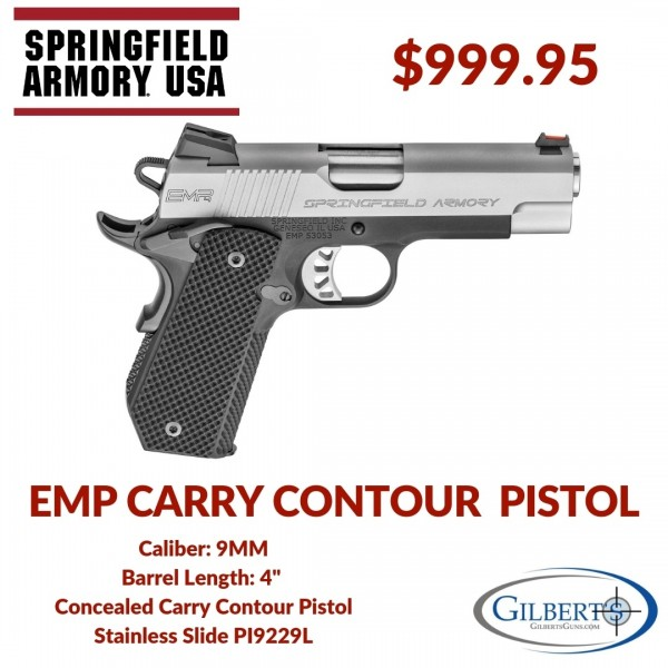 "Springfield 1911 EMP 4"" Concealed Carry Contour 9mm Pistol PI9229L"