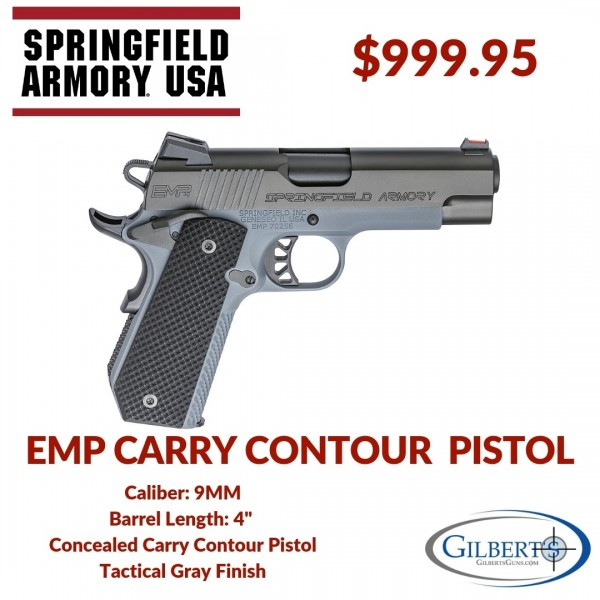 "Springfield 1911 EMP 4"" Concealed Carry Contour 9mm Pistol in Tactical Gray PI9229Y"