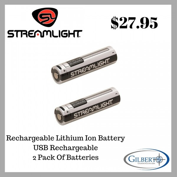 Streamlight 18650 USB Rechargeable Battery Pack  (2 Pack) 22102