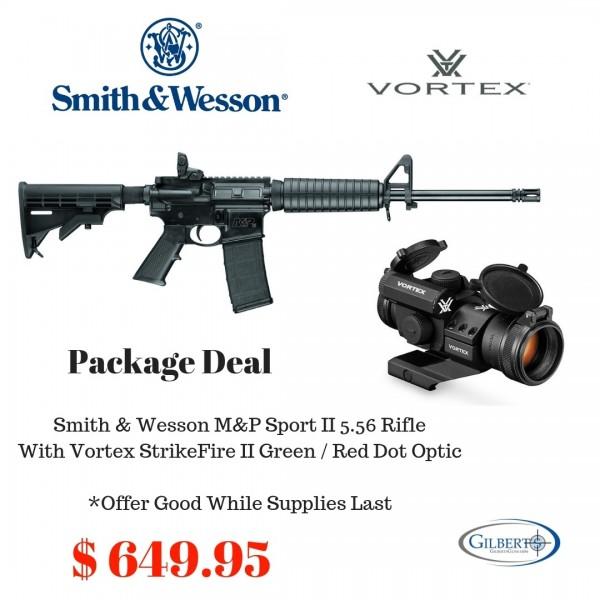 Smith & Wesson M&P15 Sport II 5.56 Rifle + Vortex StrikeFire II Red / Green Optic