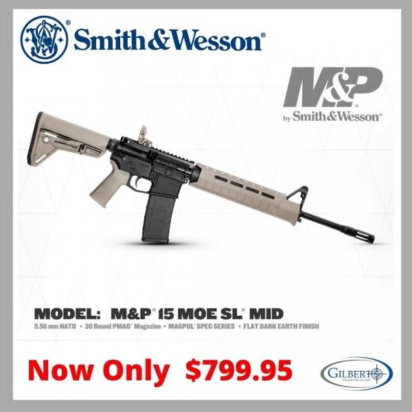 Smith & Wesson 11513 M&P15 MOE SL Mid Magpul Spec Series 5.56 Rifle